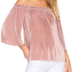 J.O.A. Accordion Off the Shoulder Top Blush Pink